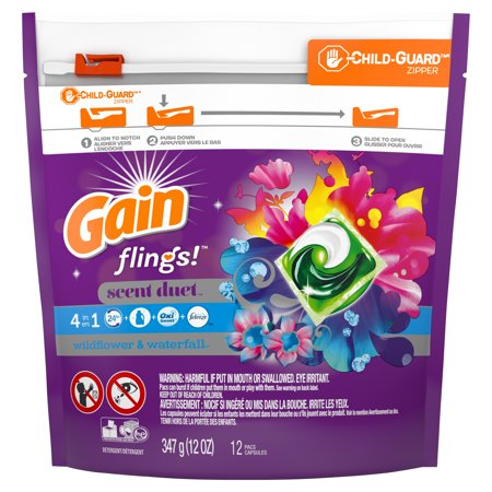 Gain flings! Scent Duet Laundry Detergent Pacs, Wildflower & Waterfall, 12 Count