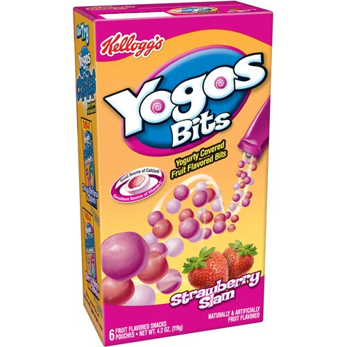 Kellogg's: Yogos Bits Yogurty Covered Strawberry Slam Fruit Flavored Snacks, 4.2 Oz
