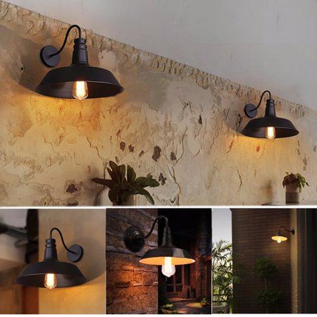 110V Wall-mounted Hanging Retro Vintage Industrial Barn Edison Loft Light Wall Sconce Chandelier Light Lamp Lampshade Gooseneck For Kitchen Farmhouse Bar Garden Garage - Wenge Wood Wall Light