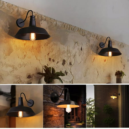 110V Wall-mounted Hanging Retro Vintage Industrial Barn Edison Loft Light Wall Sconce Chandelier Light Lamp Lampshade Gooseneck For Kitchen Farmhouse Bar Garden Garage Warehouse 01 Exterior Wall Sconce