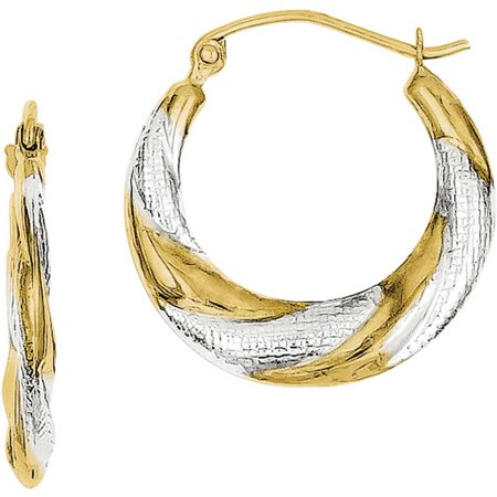 10kt Gold and Rhodium Twist Lightweight Hoop (Lightweight Twisted Earrings)