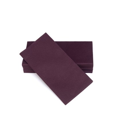 "SimuLinen Dinner Napkins – Disposable, PLUM, Cloth-Like – Elegant, yet Heavy Duty Soft, Absorbent & Durable – 16""x16"" – Box of 50 - Plum Napkins"