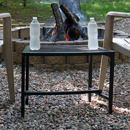 Sunnydaze Outdoor Patio Side End Table Heavy Duty Mesh Metal Small Porch Furniture Black