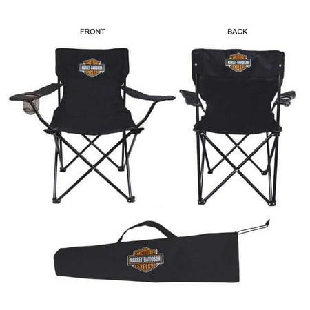 Harley Davidson Compact Bar Shield Chair Drink Holders Bag Black Ch30230