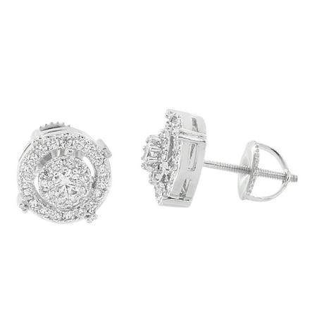 Halo Cluster Set Earrings 14k White Gold Finish Lab Diamonds Screw Back Studs Men Womens 14k Gold Diamond Cluster