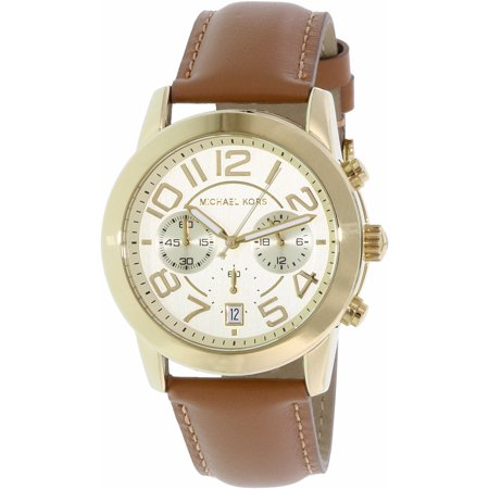Michael Kors Womens Mercer MK2251 Gold Leather Japanese Quartz Fashion Watch