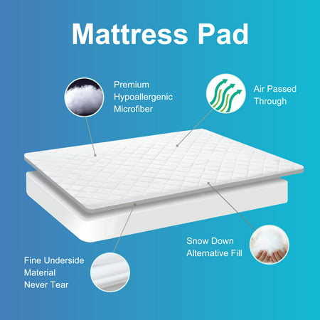 Quilted Mattress Pad Cover For Twin/Full/Queen/King Bed, Soft Breathable Diamond Quilted with 16