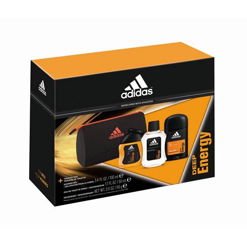 adidas Deep Energy Fragrance Gift Set with Toiletry Bag, 3 pc