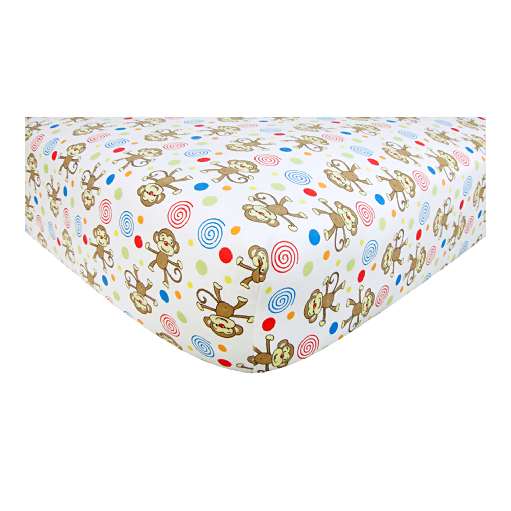 Monkey Scatter Print Flannel Deluxe Flannel Fitted Crib Sheet