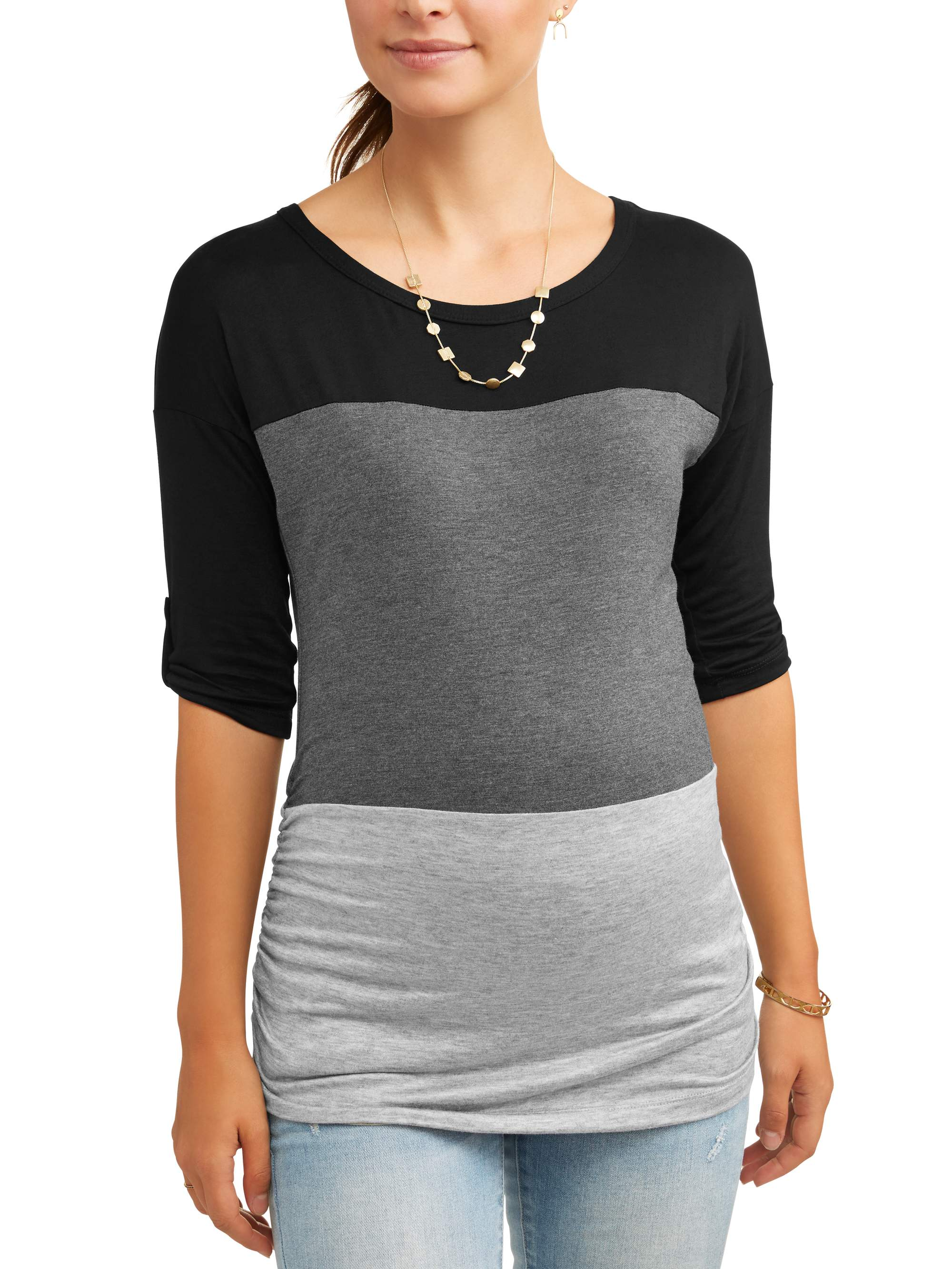 Maternity 3 4 Sleeve Color Block Top by Zoomers
