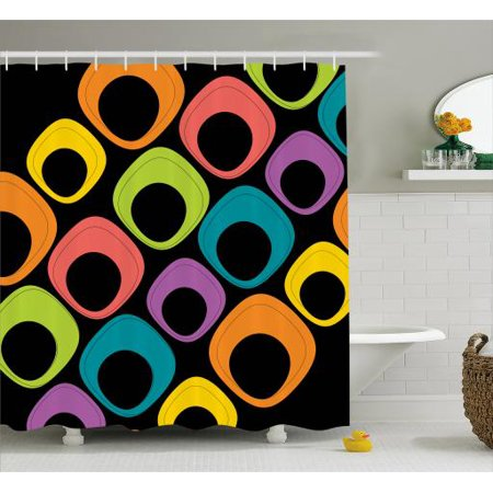 Psychedelic Shower Curtain Square Like Shapes Pattern With Oval Motifs Colorful Geometric Design Modern