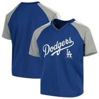 308b78750ba Product Image Youth Royal Los Angeles Dodgers Poly Mesh Raglan V-Neck T- Shirt