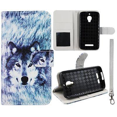 For Alcatel One Touch Fierce 7024W Wallet Husky Wolf Syn Leather Dual Layer Interior Design Flip PU Leather case Cover Card Cash Slots & Stand  Cover