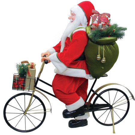 """42"""" Traditional Santa Claus Riding a Bicycle Commercial Christmas Decoration - image 2 de 2"""