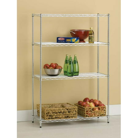 "HSS 14""Dx36""Wx54""H, 4 Tier Wire Shelving Rack, Silver/Zinc"