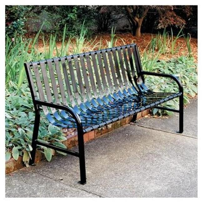 Witt Industries M5-BCH-SLV 5 ft.  Stadium Series SMB Slatted Metal Bench - Silvadillo