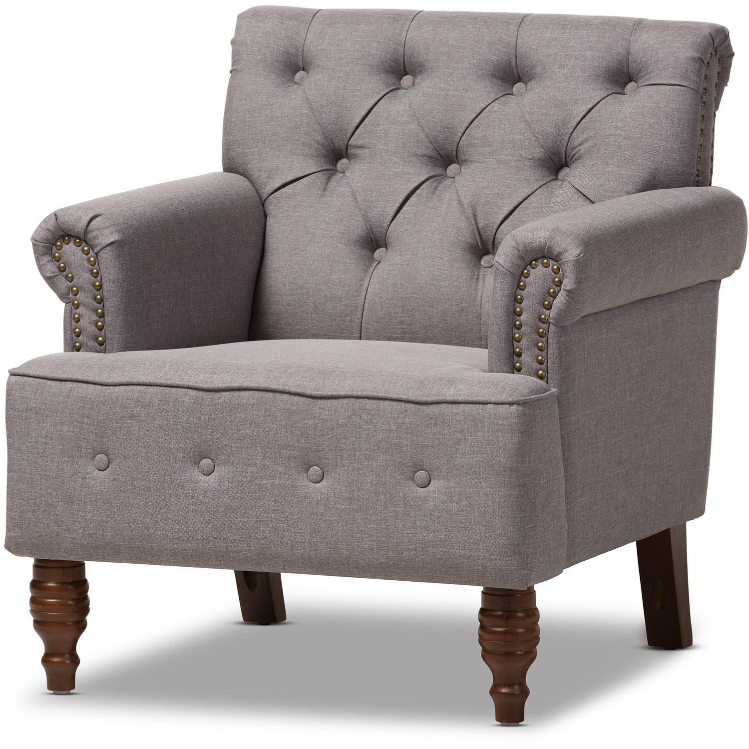 Baxton Studio Christa Modern and Contemporary Light Gray Fabric Upholstered Walnut Wood Button-Tufted Armchair by Baxton Studio