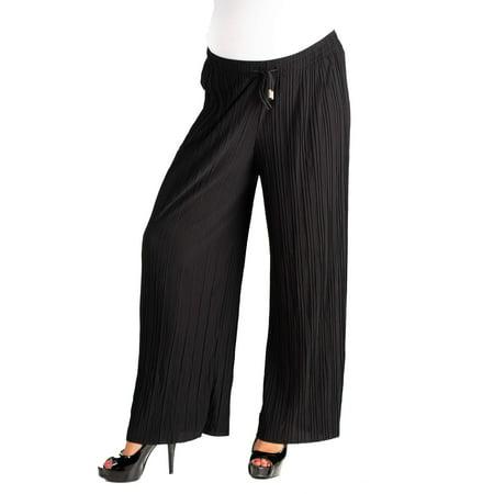 Pleated Wide Leg Drawstring Maternity Pants
