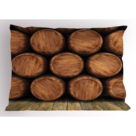 Wine Pillow Sham Wall of Wooden Barrels Wine Stack Storage Gallon Antique Vintage Container Rustic Design, Decorative Standard Size Printed Pillowcase, 26 X 20 Inches, Brown, by Ambesonne