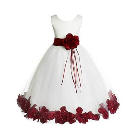 5f3c410439 Ekidsbridal - Ekidsbridal Ivory Tulle Floral Rose Petals Formal Flower Girl  Dress Wedding Tulle Dress Junior Bridesmaid Dress Holy Baptism Dress First  ...