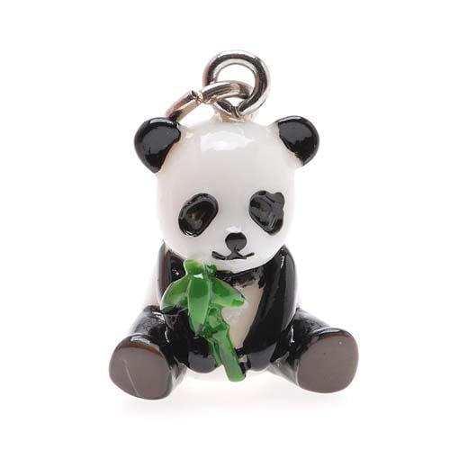 Hand Painted 3-D Panda W/ Bamboo Charm 19mm Lightweight (1)