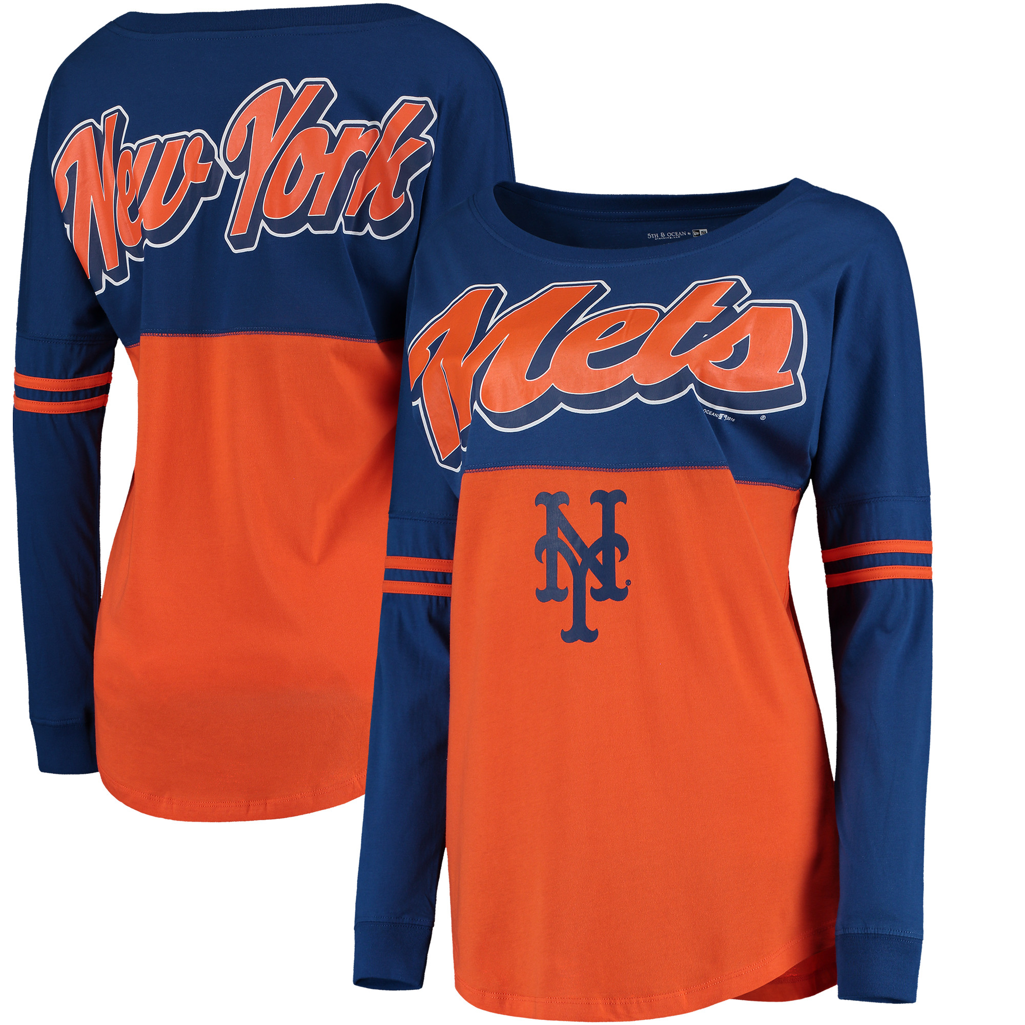 New York Mets 5th & Ocean by New Era Women's MLB Baby Jersey Varsity Crew Boyfriend Long Sleeve T-Shirt - Orange