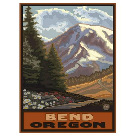 "Bend Oregon Springtime Mountains Travel Art Print Poster by Paul A. Lanquist (9"" x 12"")"