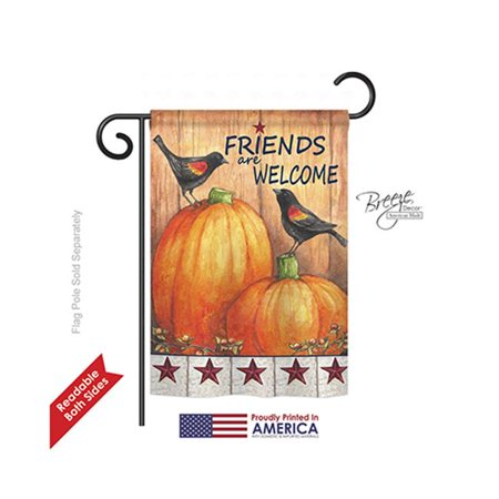 Breeze Decor 63059 Harvest & Autumn Friends Welcome Crows 2-Sided Impression Garden Flag - 13 x 18.5 in. - image 1 of 1