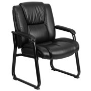 A Line Furniture Aubry Big and Tall Black Leather Executive Office Side Chair With Sled Base