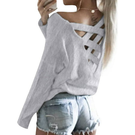 ZXZY Casual Women Cut Out Back Loose Fit Criss Cross Shirt Top Blouse Casual Solid Cut Out