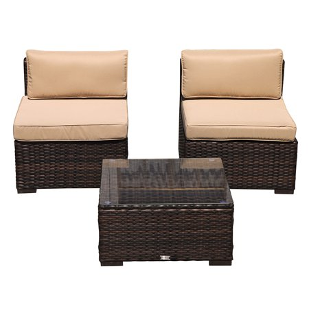 Outdoor Patio Furniture All Weather Brown Rattan Wicker 3 Piece Set ,Additional Seats for Sectional Sofa, Beige Removable cushions,Steel Frame ()