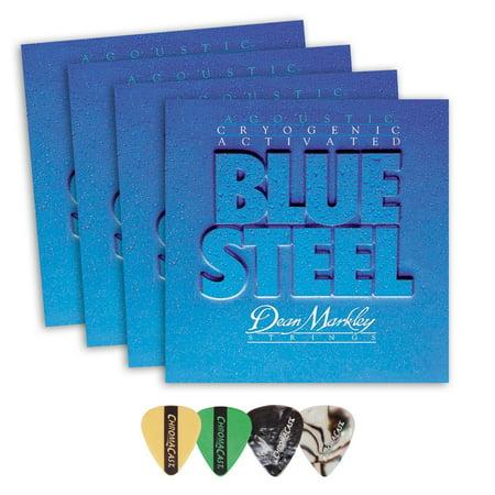 Dean Markley 2038 Blue Steel Medium Gauge Acoustic Guitar String(.013-.056) 4 Pack, with ChromaCast 4 Pick Sampler