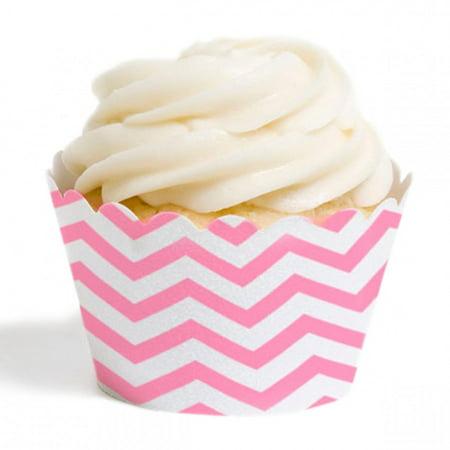 Dress My Cupcake Standard Cupcake Wrappers, Chevron, Pink, Set of 12 (Cheap Cupcake Dresses)