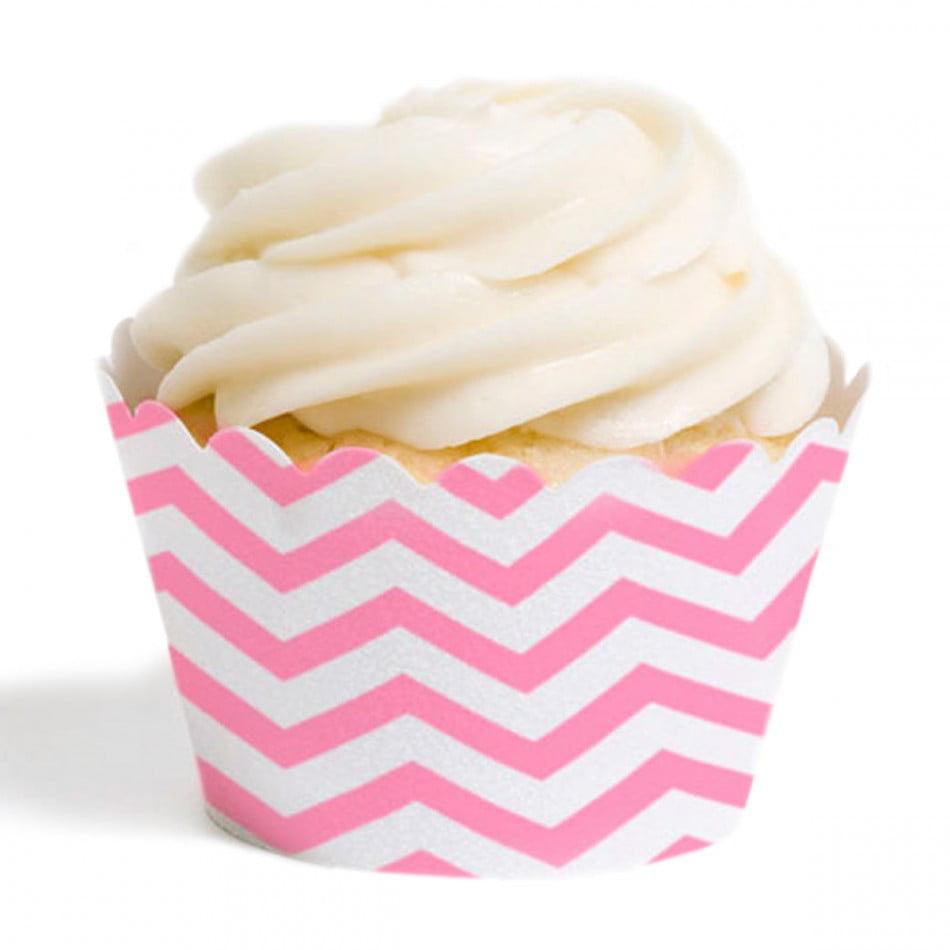 Dress My Cupcake Standard Cupcake Wrappers, Chevron, Pink, Set of 12