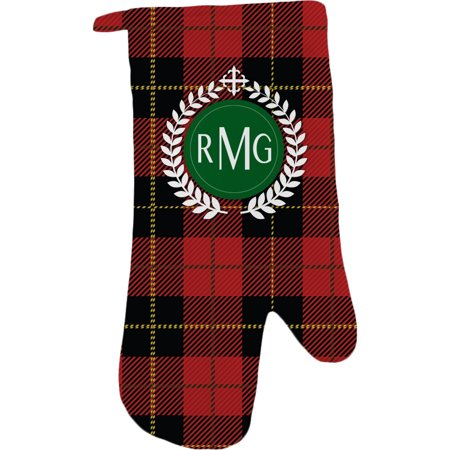 - Personalized Kitchen Festive Red Plaid Oven Mitt