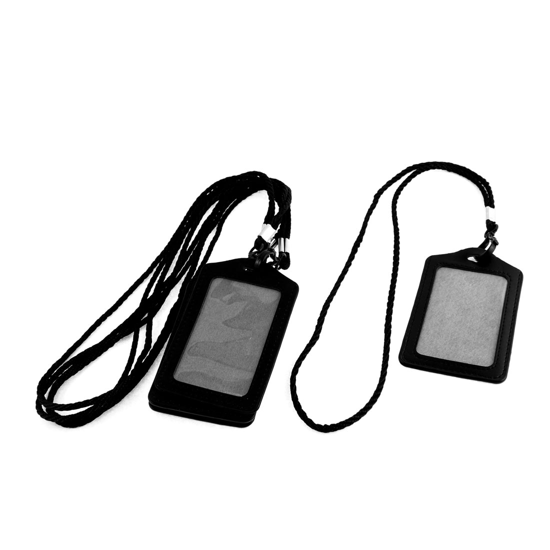 Faux Leather Vertical Design Lanyard Company Name Badge Card Holder Black 5pcs