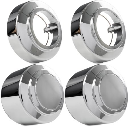 4x Chrome Center Caps Open and Closed Wheel Lug Nut Hub Cap Covers for 1995-1997 Ford F-250 Truck