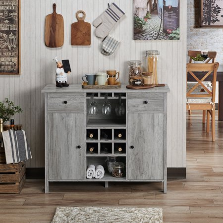 Furniture of America Levy Wood Wine Storage Buffet Table, Vintage Gray Oak Unfinished Wide Table