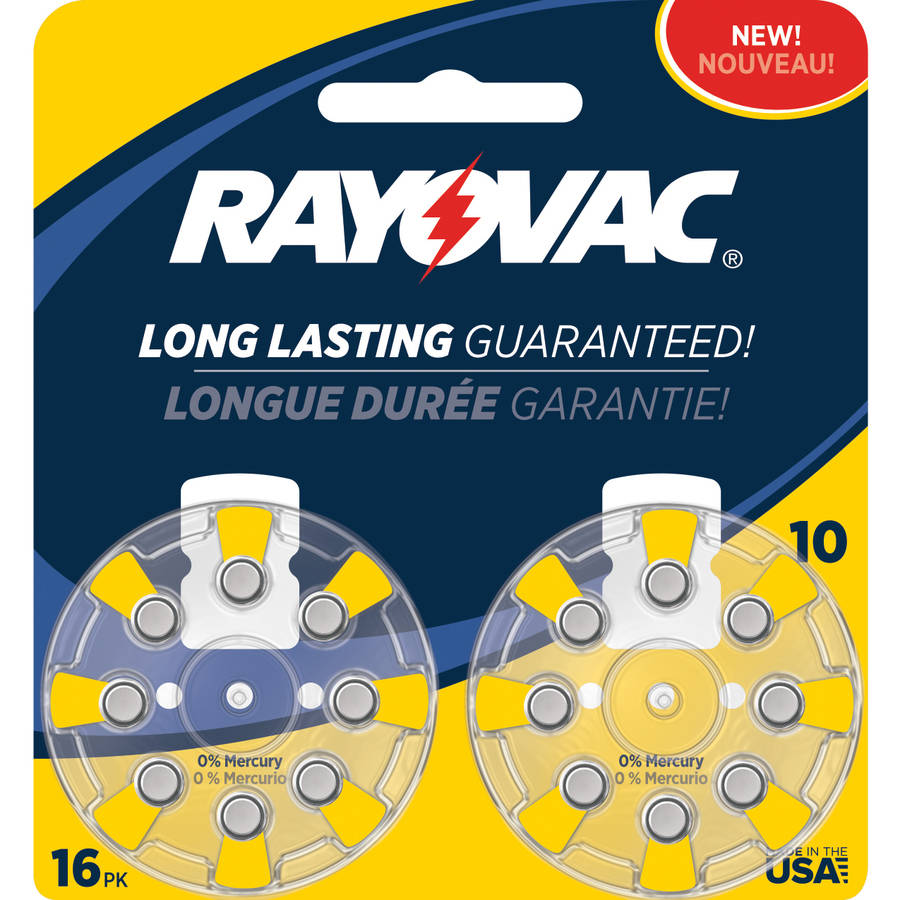 Rayovac Type 10 Hearing Aid Batteries, 16-Pack