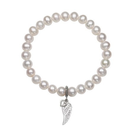 June Birthstone Heart Charm - 7-8mm Cultured Freshwater Pearl with Sterling Silver Heart and Wing Charm Stretch Bracelet, 7.5