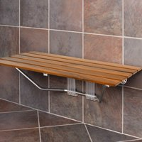 """Clevr 36"""" ADA Compliant Double Seat Teak Wood Folding Shower Bench, Clear Coated Modern Finish, 400 Lb Capacity"""