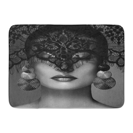 GODPOK Luxury Woman with Celebrate Makeup Silver Earrings Black Dramatic Lace Veil Halloween Sexy Witch Look Rug Doormat Bath Mat 23.6x15.7 inch
