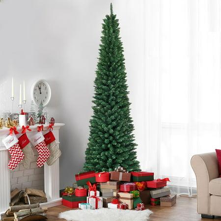 Costway 7Ft PVC Artificial Pencil Christmas Tree Slim w ...