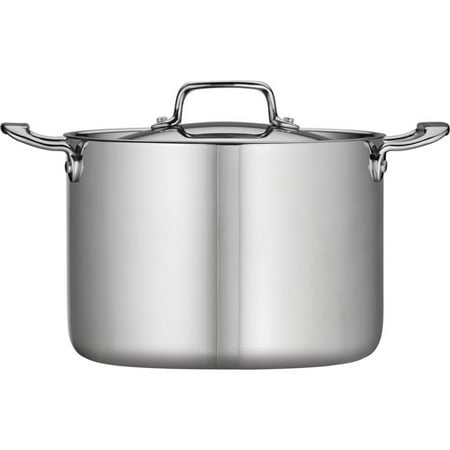 Tramontina 8-Qt Stainless Steel Tri-Ply Clad Stock Pot with (All Clad Stainless Steel 1-5 Qt Covered Saucepan)