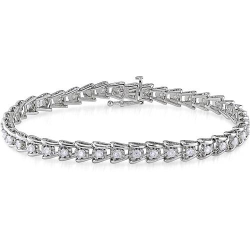 "Miabella 2 Carat T.W. Diamond Sterling Silver Tennis Bracelet, 7"""