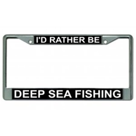 I 39 d rather be deep sea fishing chrome license plate frame for Walmart fishing license
