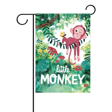 POPCreation Little Monkey Polyester Garden Flag12x18 inches Outdoor Flag Home Party Garden Decor (Monkey Garden)