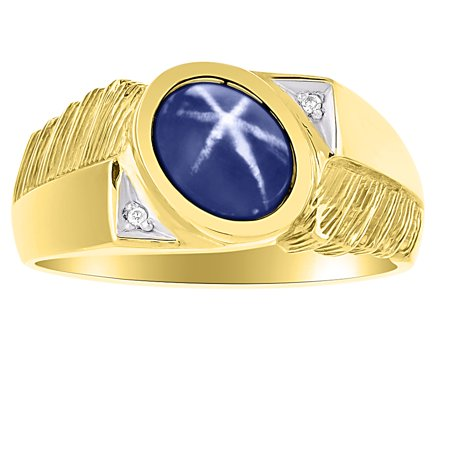 Mens Classic Oval Blue Star Sapphire & Diamond Ring Set in Yellow Gold Plated Silver