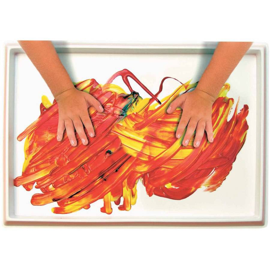 "Roylco Fingerpaint No-Mess Paint and Play Tray, 12"" x 18"", Plastic, White"