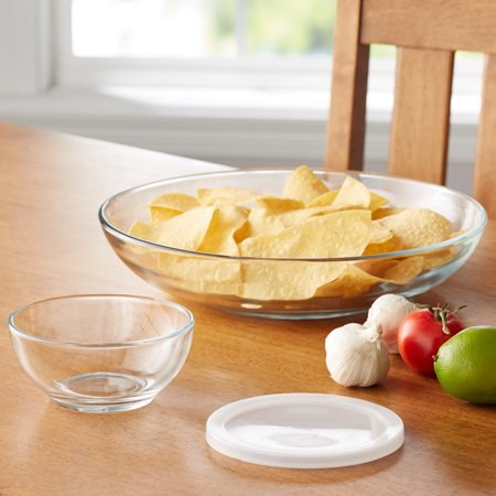 Mainstays 3-Piece Glass Chip n' Dip Serving Set